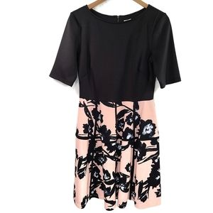 Julian Taylor Shortsleeve Scuba Floral Pink Dress